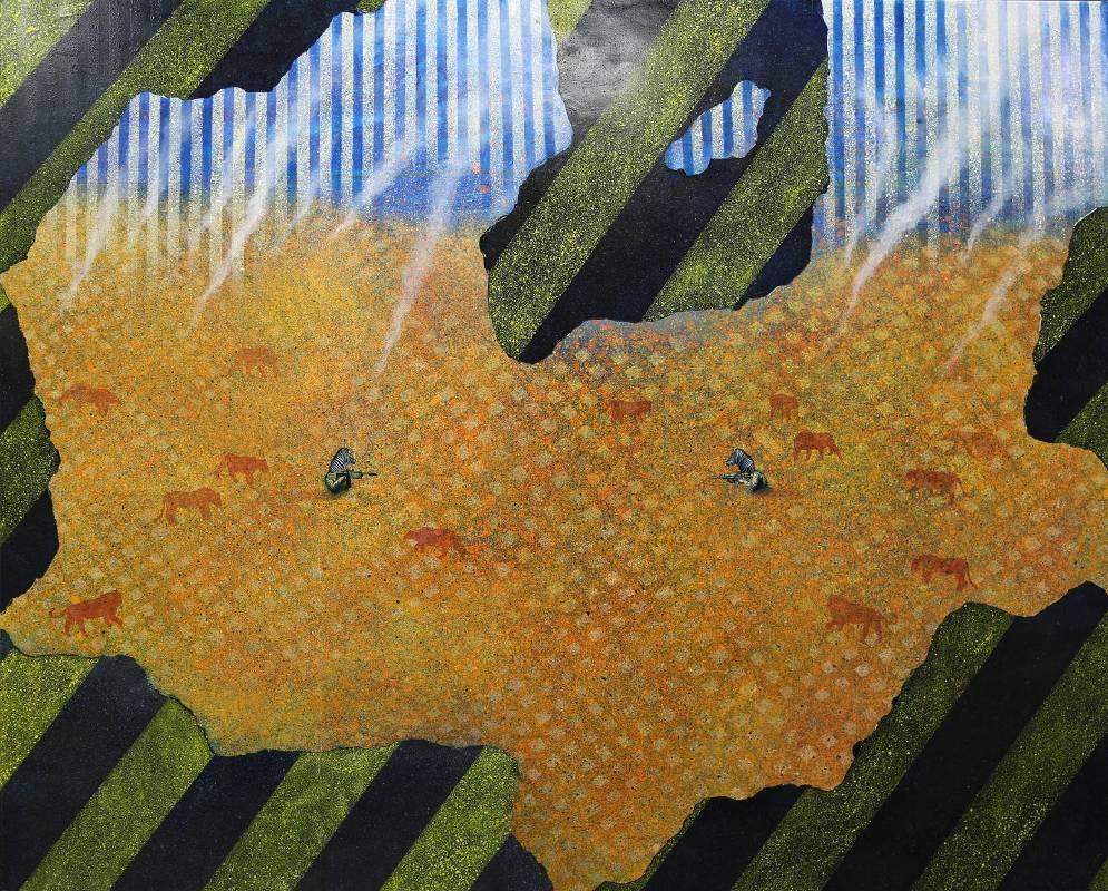賴岳宏《煙硝日常4-狩獵之園》130x162cm,布面油彩、壓克力, 2014