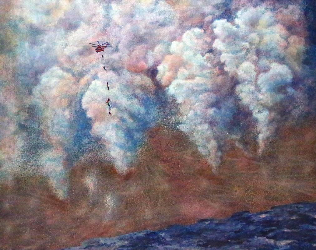 賴岳宏《煙硝日常1- 路過此地》80x100cm, 布面油彩、壓克力, 2014