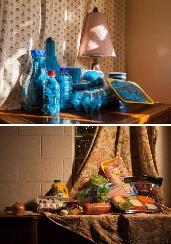 無機靜物(上)(2015)水晶裱、燈箱, 116×71cm;採買靜物(下)(2015)水晶裱, 116×71cm