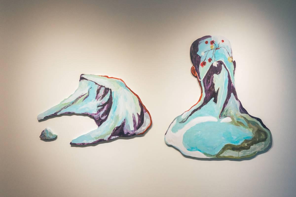 杜建衡,群島:孤島4,壓克力彩 蠟筆 木板,105x121+113x70+17x11 cm,2016
