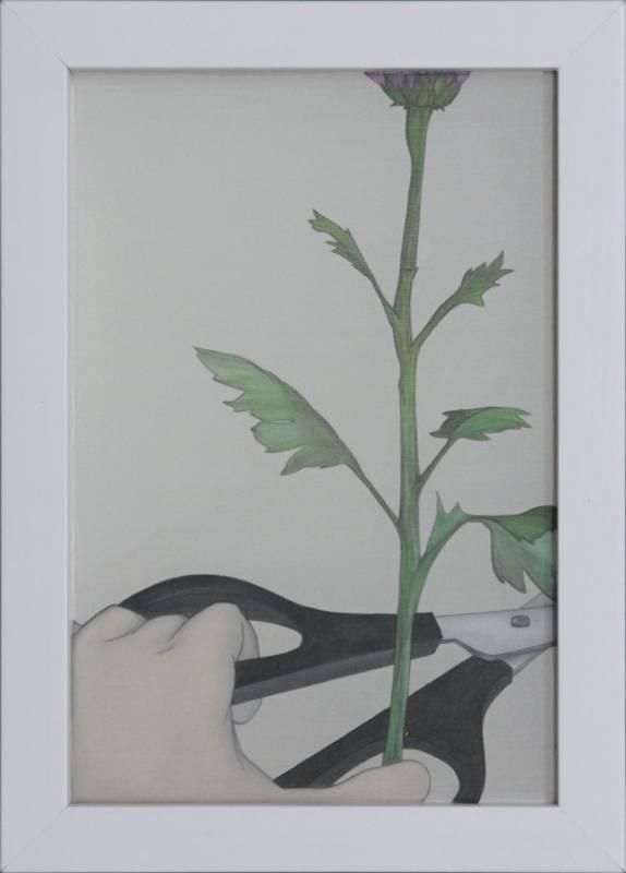 連苡安,安全剪刀.絹布 水性顏料,25x17cm,2016