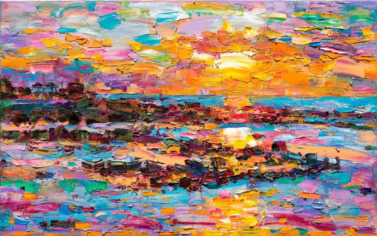 翁明哲 吉貝島日出 50x80 cm 油彩畫布 2016