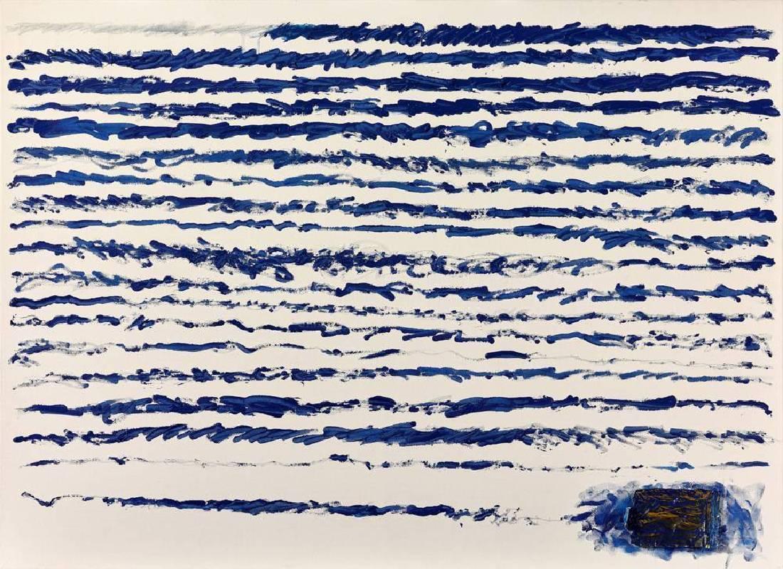石晉華《走筆#158》,油彩、錫管、畫布、文件,2016