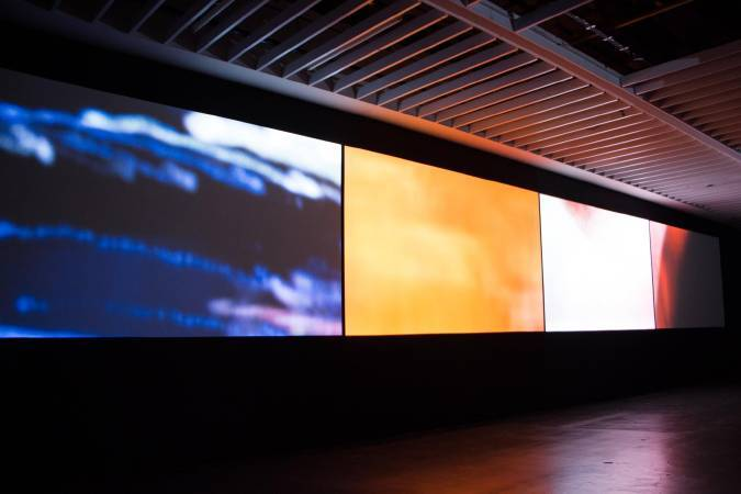 杜珮詩《抽象與真人動畫的「2014年10月18日戈洛夫金大戰魯比奧」》。圖/非池中藝術網攝。