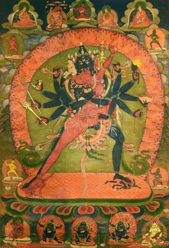 勝樂金剛唐卡 繪畫唐卡 18世紀  85X65cm