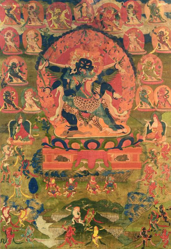 中陰赫怒迦唐卡 繪畫唐卡 18世紀  89X61cm