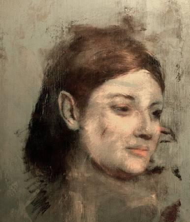 覆蓋在竇加(Edgar Degas)《仕女圖》(Portrait of a Woman)底下的女子畫像。圖/取自The Guardian。