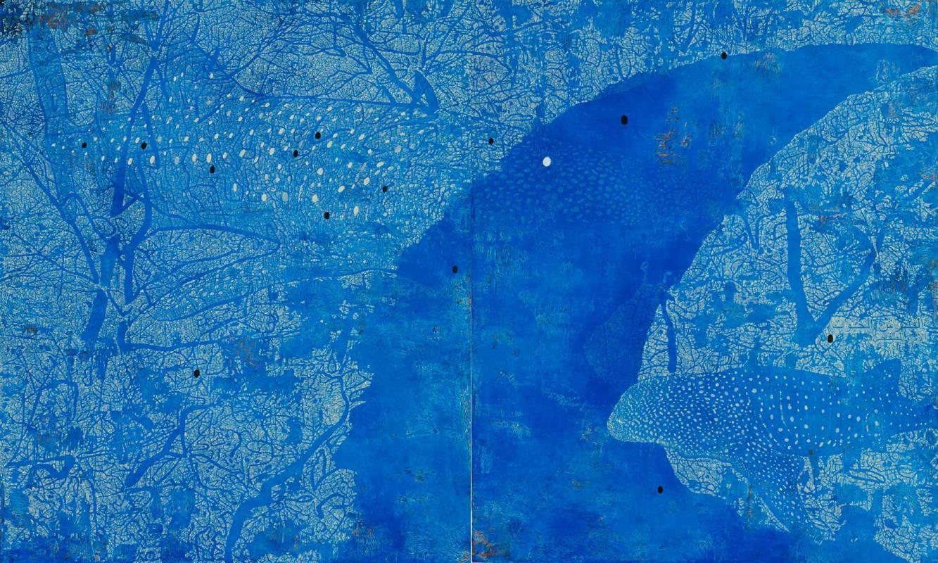 傅作新,鯨鯊-母與子180 x 150 cm (Two Pieces) 布面油彩丙烯2013