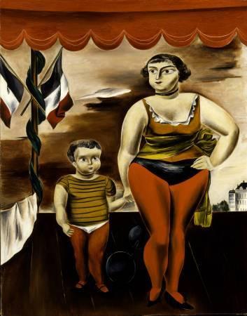 國吉康雄《女力士與小孩》,1925。