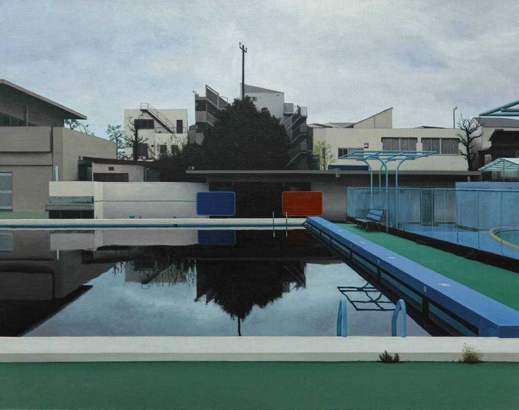 廖震平 泳池 pool, 油彩、畫布 oil on linen, 72.7x91cm, 2016