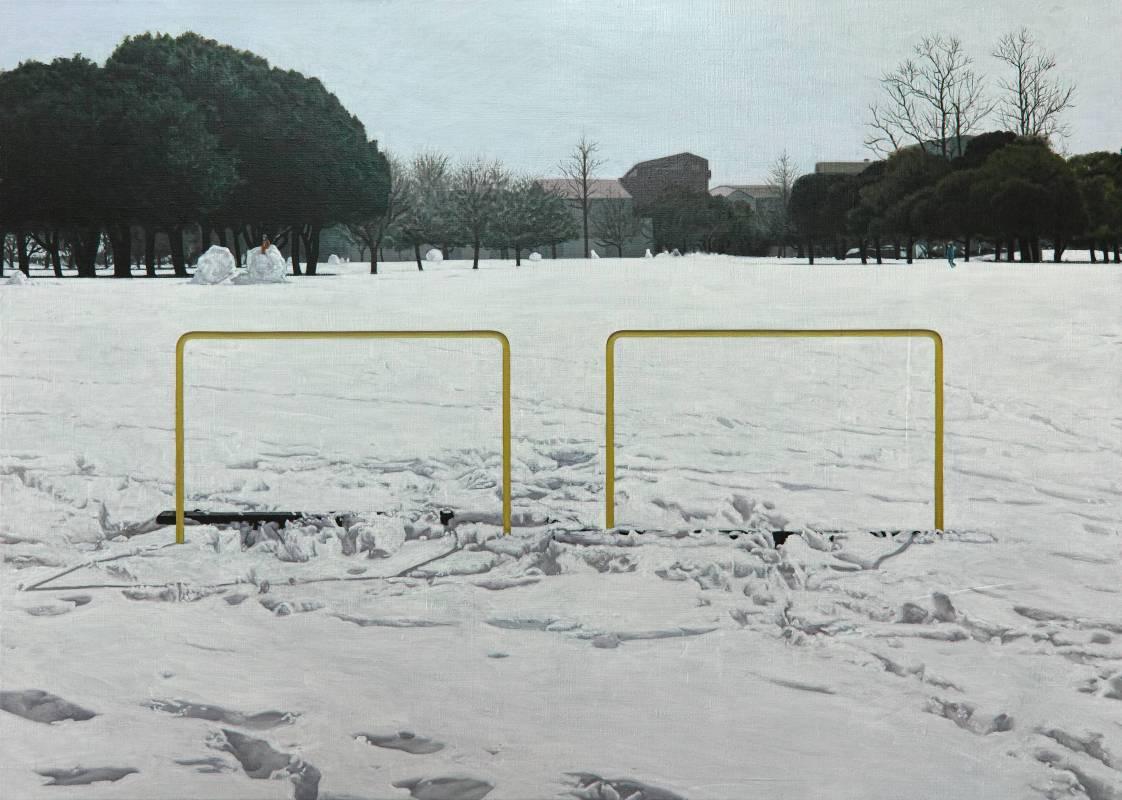 廖震平 雪地裡的黃線 yellow line in snow, 油彩 畫布oil on linen, 65.2x91cm, 2016