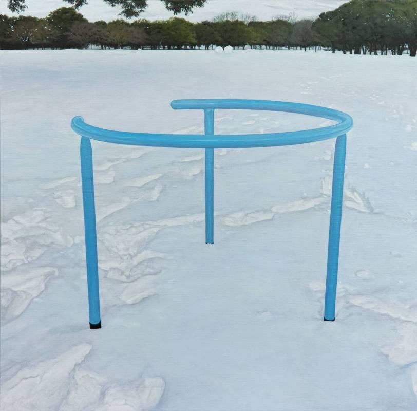 廖震平 雪地裡的藍線 blue line in snow, 油彩、畫布 oil on linen, 2016