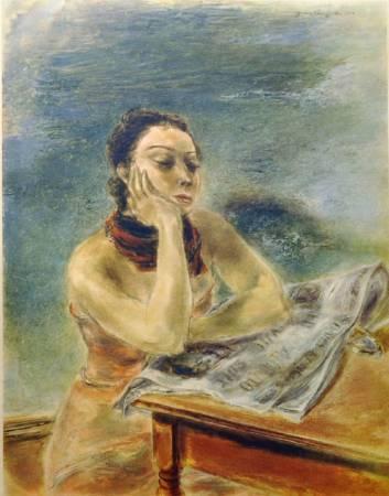 國吉康雄《我疲倦了》,1938。