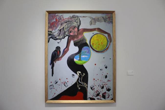 依法兒.瑪琳奇那《與月的舞動》。圖/ 非池中藝術網 攝。
