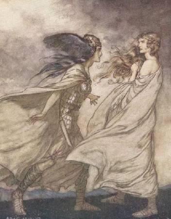 亞瑟.拉克姆為《尼伯龍根指環》所做的插畫,1911年。圖/取自維基百科。