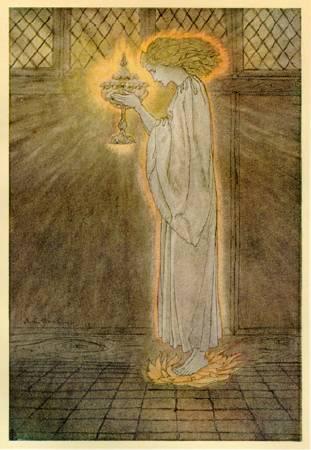 亞瑟.拉克姆為《亞瑟王與圓桌武士傳說》所做的插畫,1917年。圖/取自維基百科。