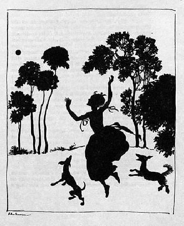 亞瑟.拉克姆《仙履奇緣》中的剪影插畫,1919年。圖/取自維基百科。