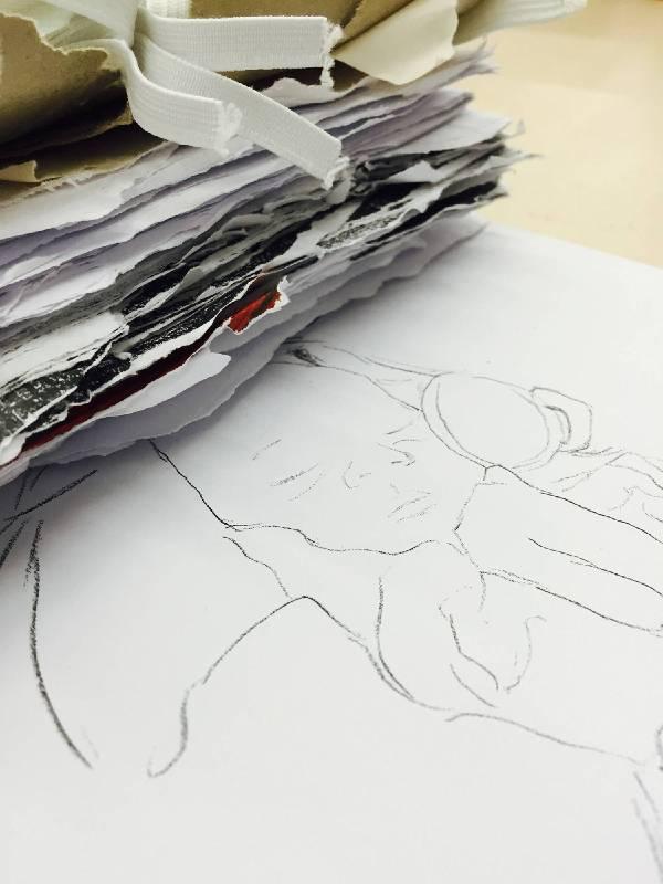 陳映儒,〈Dear diary〉,鉛筆、紙本、影像動畫