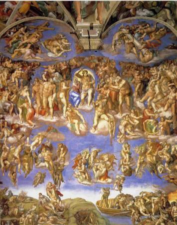 Michelangelo Buonarroti,《最後的審判》。圖/取自wikimedia。