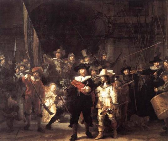 《夜巡》, Rembrandt Harmenszoon van Rijn。