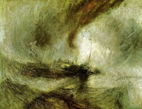 《暴風雪中駛離港口的汽船》,William Torner。