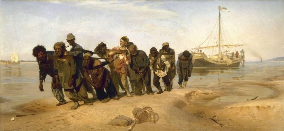 《伏爾加河上的縴夫》, И. Е. Репин。