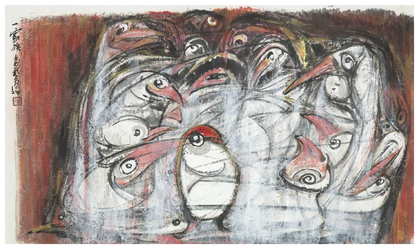 黃才松 一家族  2014  82×48公分  紙本、彩墨