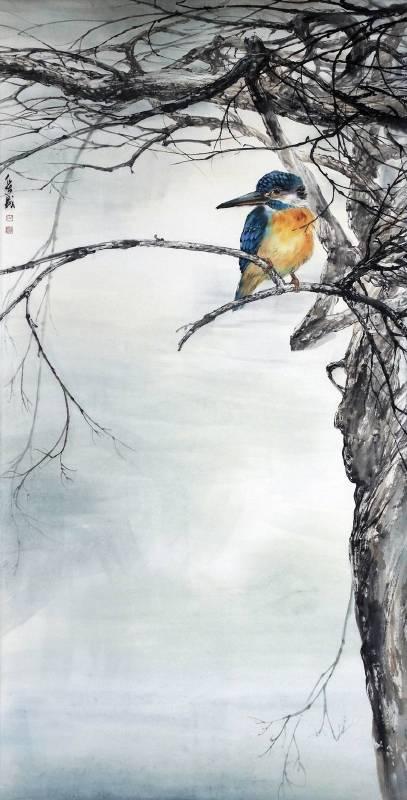 王俊盛  閒居  2014年  高137×寬70公分  水墨