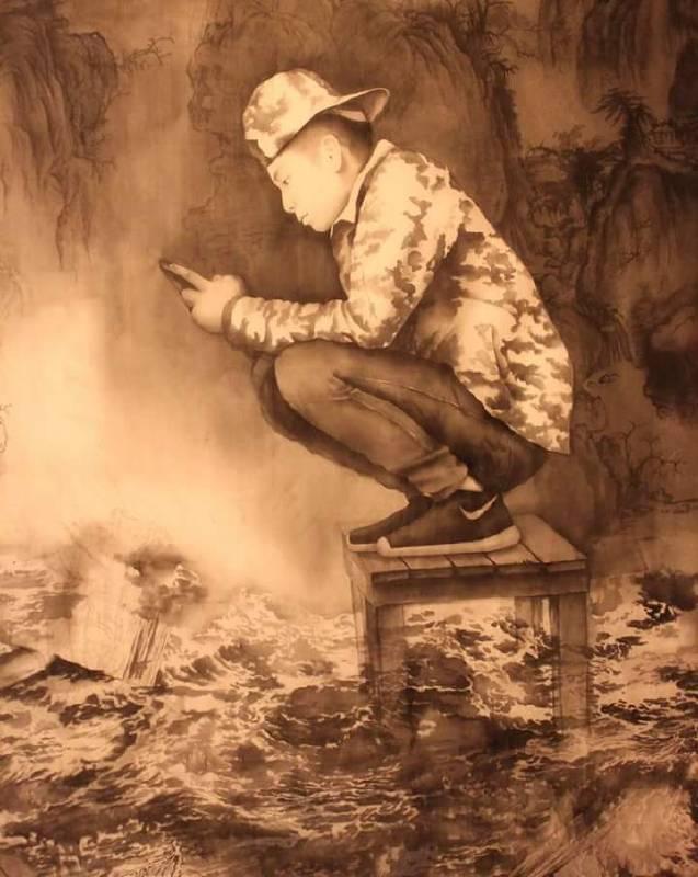 張美玲 少年十七  2016年  148 x180cm  水墨絹本