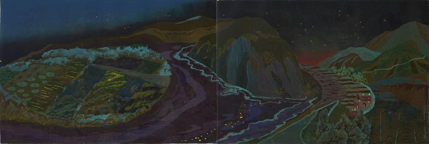 Strangeland / 68 x 169cm / 木刻版、紙、局部金粉 / 2016年 (限量五版)