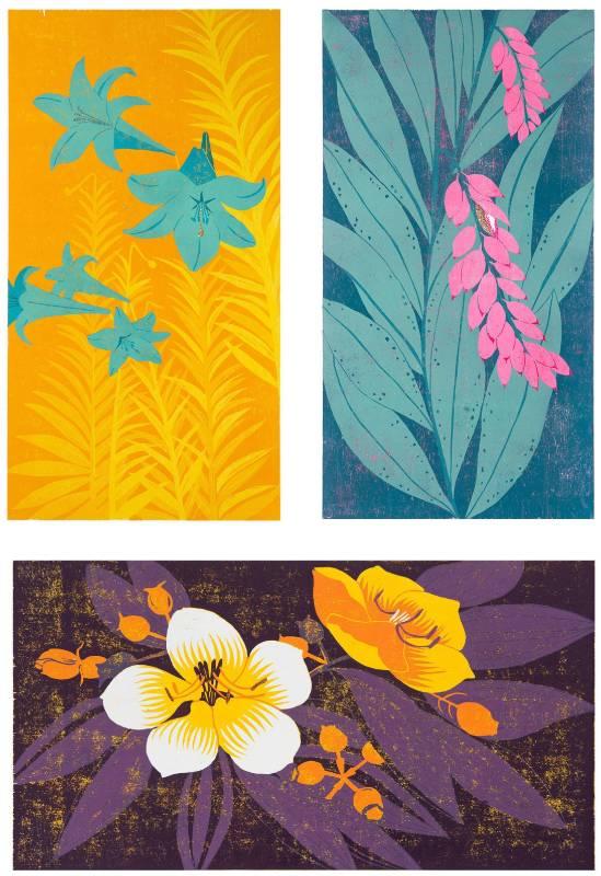 Blossom(月桃、百合、野牡丹) / 40 x 75cm (單張尺寸) / 木刻版、紙、局部金粉 / 2015年 (限量五版)