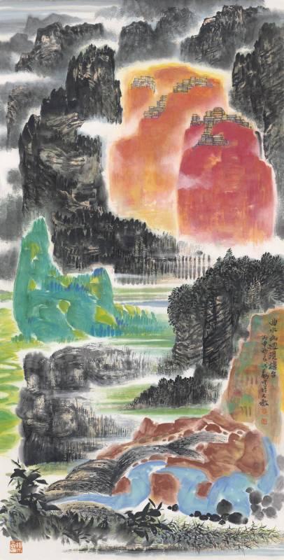 程代勒 《曲水山迴現樓台》  2016  69×135公分