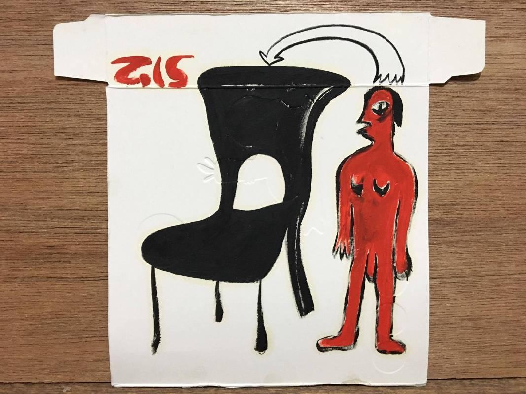 劉秋兒<在一張聖克萊爾粉刺遠淨MP3紙盒上描繪一個人和一張椅子>