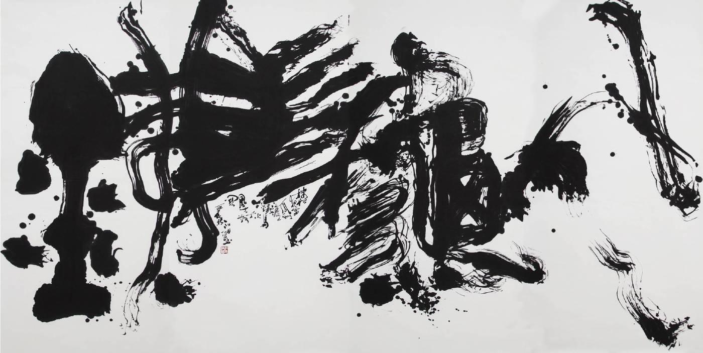 江柏萱 - 鐵馬秋風  宣紙  180x360cm  2013