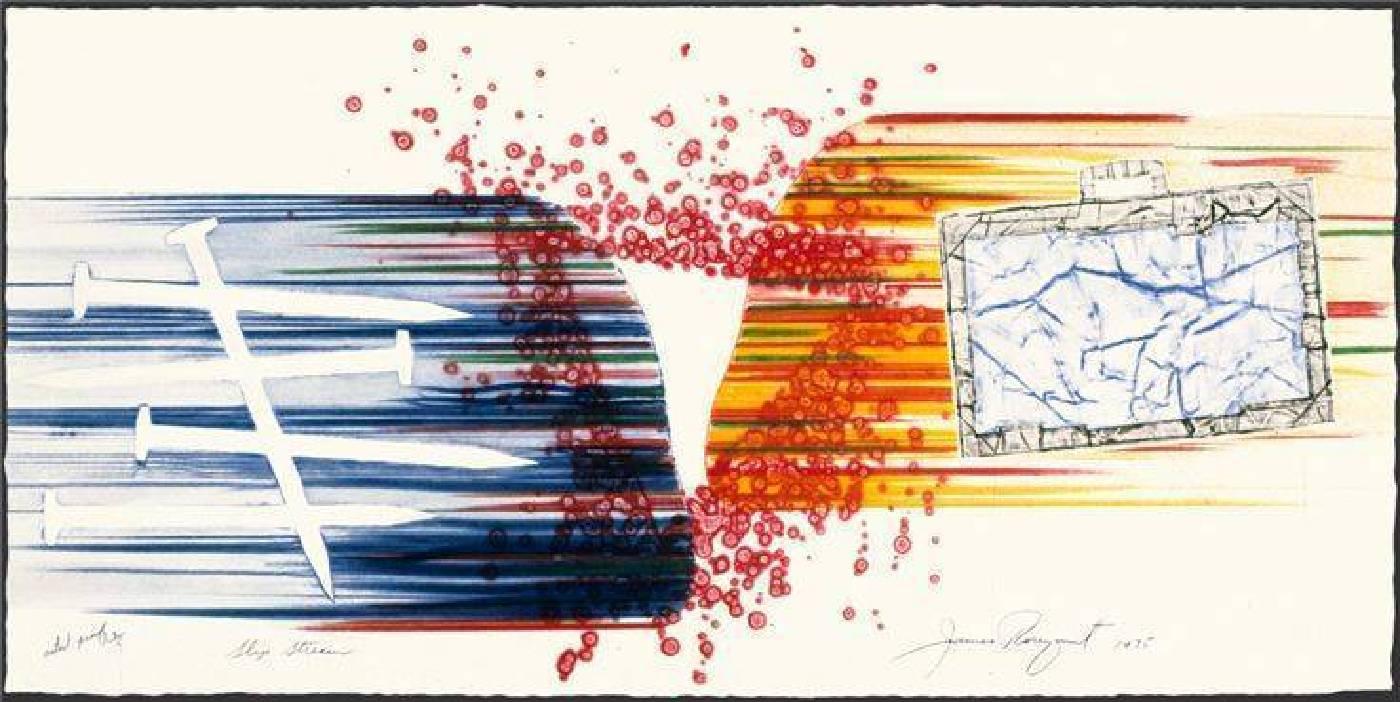 詹姆斯.羅森奎斯特 James Rosenquist, 氣流 Slip Stream, 彩色銅版畫與廣告拼貼etching and collograph in colors , 1975, 45 cm x 91.5 cm
