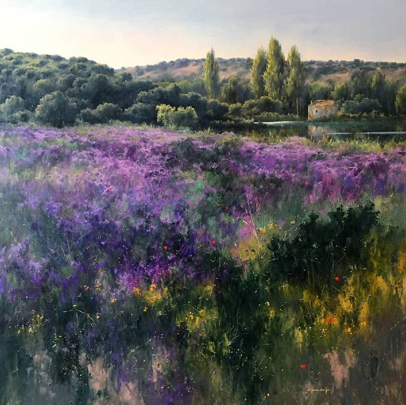 Fermin Garcia Sevilla《Violetas》Oil on Panel 90×90cm 2016