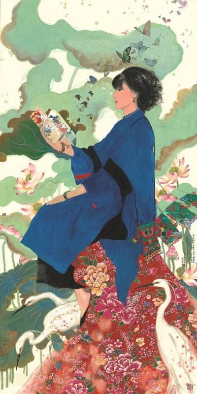陳菊美,《客家仕女圖開卷有益》,2016,水墨,124x243cm