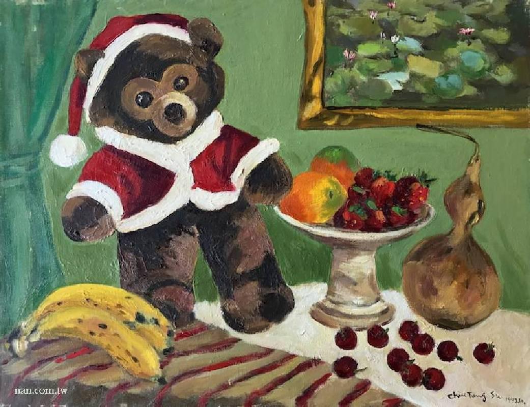 草莓與玩偶  1993.51×66cm.油彩畫布