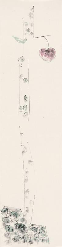 許雨仁《彩墨系列之三十七》 136×34cm 2011 彩墨、紙