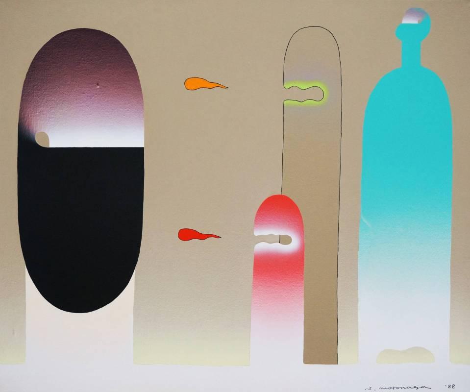 元永定正Sadamasa Motonaga   tobidashiwaakatoorenji   60.6 x 72.7 cm   acrylic on canvas   1988