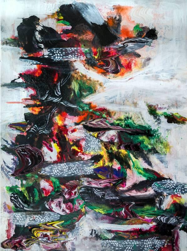 王淑鈴  立春 (2015-2016) 膠、油彩,綜合媒材,畫布, 72x53cm