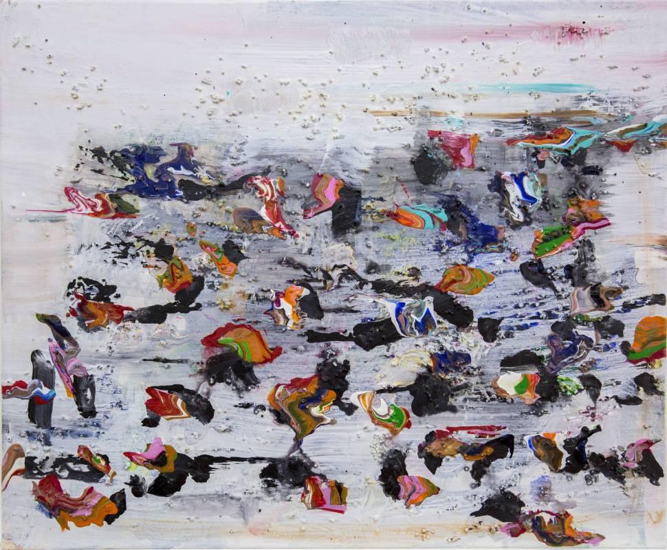 王淑鈴  閏月(2015-2016), 膠、油彩,綜合媒材,畫布, 50x60.5cm
