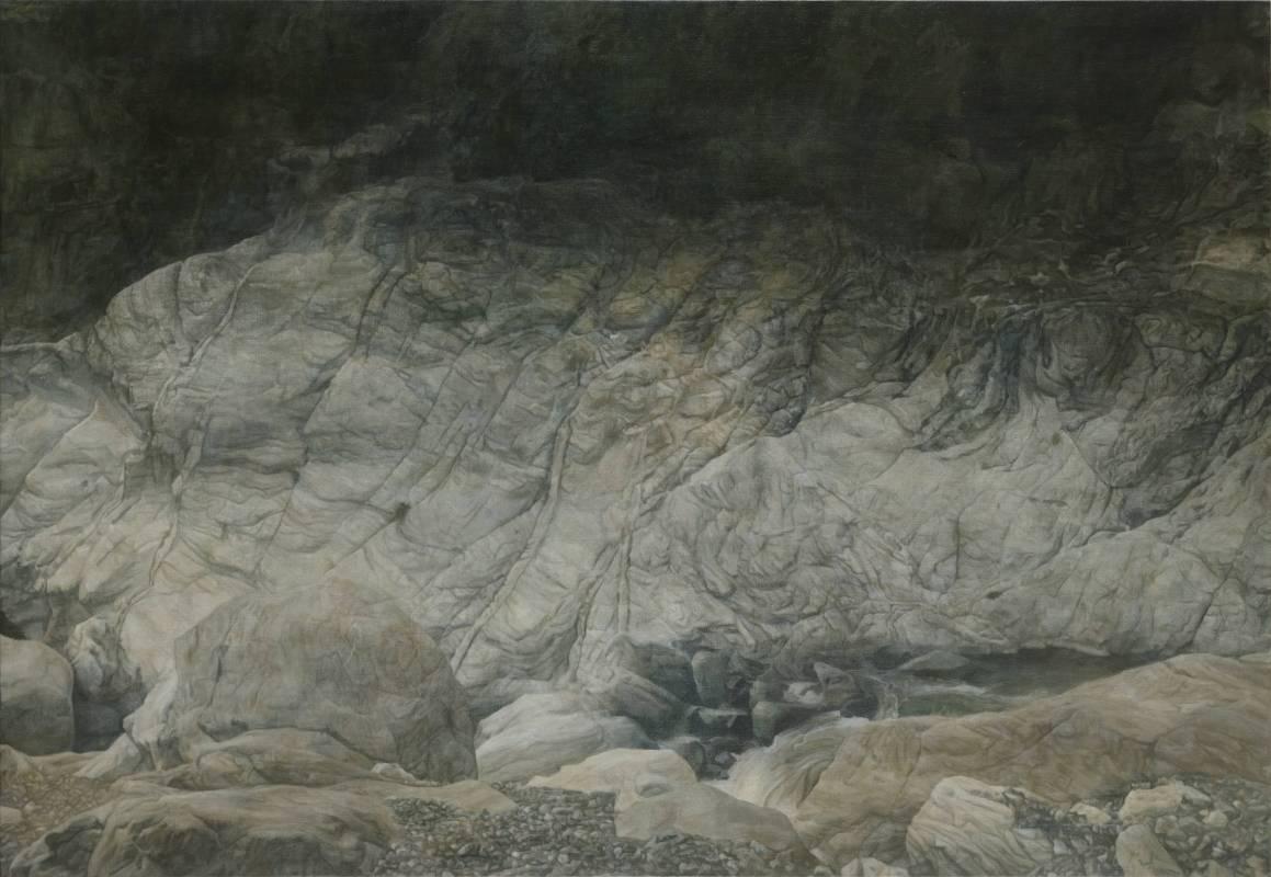 陳孟澤 山泉 112x162 cm 油彩、蛋彩混合技法 2017