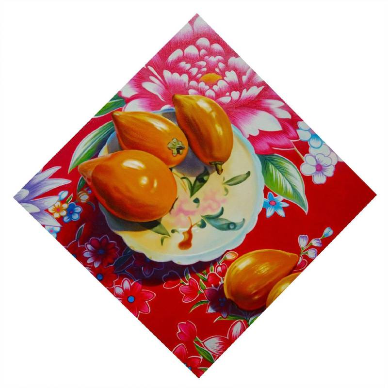 畫春聯-富貴吉祥 Spring Couplet-Wealth and Good Fortune 40x40cm  2017  油畫  Oil on Canvas