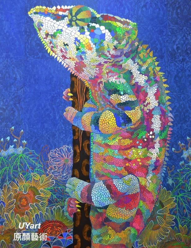 七彩變色龍與花1 116.7×91㎝ (50F) 高知麻紙、墨、礦物顏料、壓克力