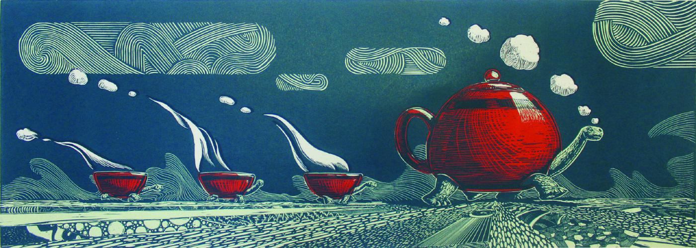 Rui-Paolo・TTT the Tea-Time-Turtle・版畫、日本紙・98x35cm・2015