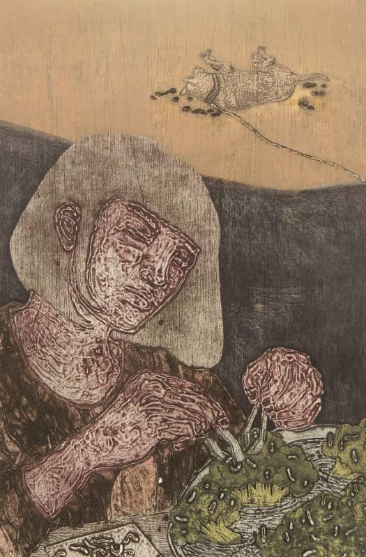 鍾佩蓉 Chung Pei Jung・過日子 蟲災・油墨、日本無酸紙、木板凹凸印・40x60cm・2017