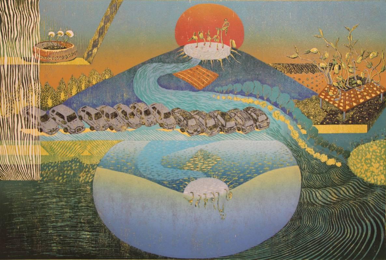 許以璇 Hsu Yi Hsuan・植物養成系列-朝聖The plant-Growing series:Pilgrimage・油印木刻版 單板複刻・45x67cm・2015