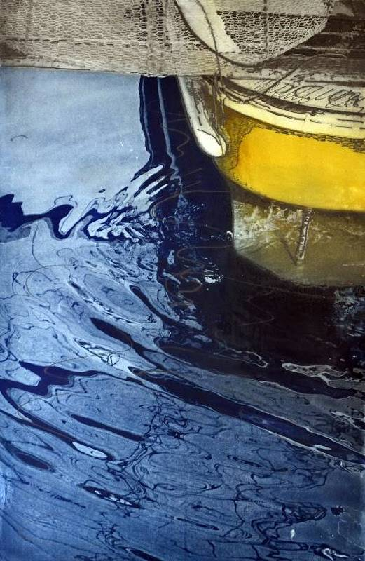 ClimentCamacho_Gema_黃色船 Yellow Boat 40x58 cm 感光樹脂版 Photopolymer