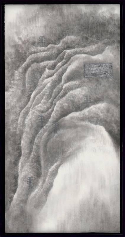 洪郁喜│移轉與他鄉 flowing foreign land│水墨、礦物顏料、銀箔│70x34cm│2017